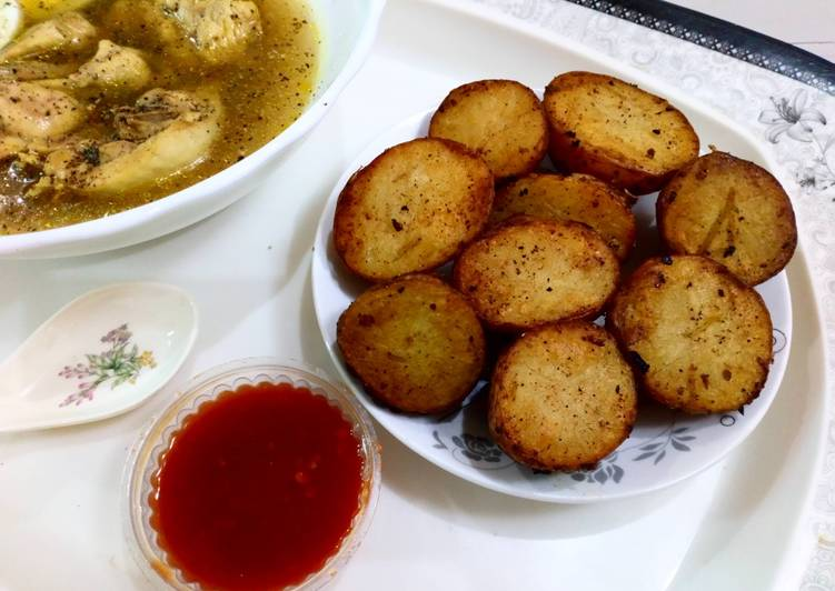 Recipe of Perfect Baked potato with peshawri chicken soup