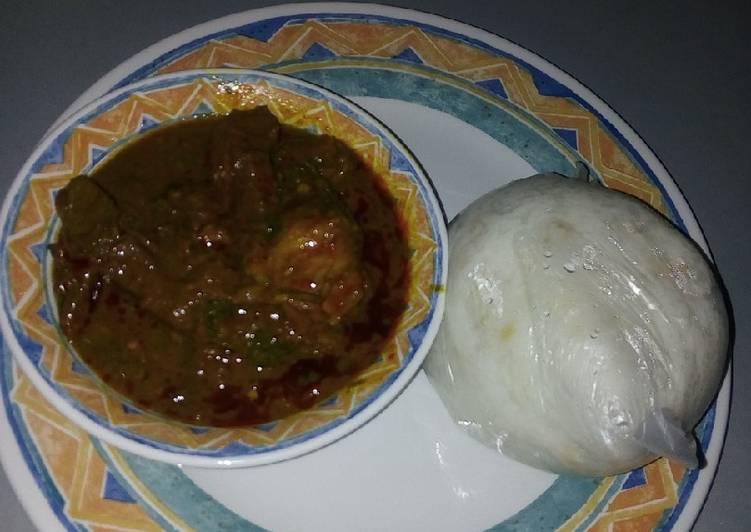 Baobab soup (miyar kuka) $ Jasmice rice swallow (Tuwon Shinkafa)
