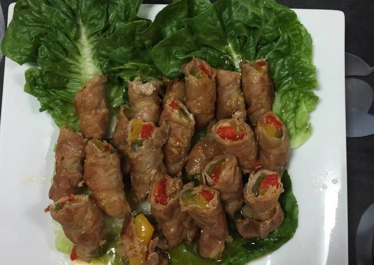 Sliced Pork Belly Wrapped Bell Peppers