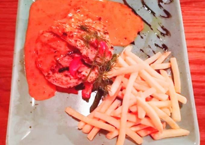 Chicken Grill steak with finger fried and red chilli sauce