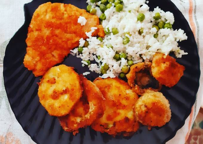 Fried Veggies and Meat With Green Pea Rice