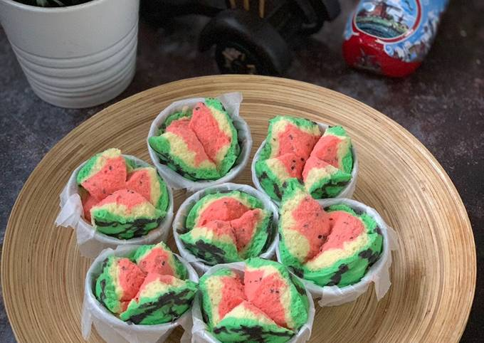 Watermelon Steam Cake (Bolu Kukus Semangka)