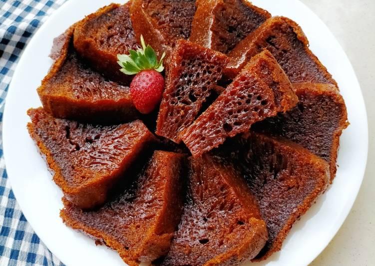Bolu karamel - sarang semut - cookandrecipe.com