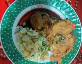 Cañon de cerdo en salsa de miel mostaza y coco