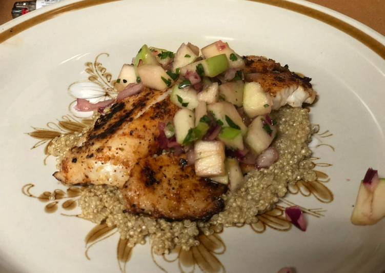 How to Prepare Delicious Chili Lime Pan Seared Tilapia with Apple Salsa and Quinoa