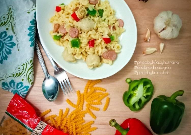 Creamy Spiral Pasta #PhopByLiniMohd #Batch20 - velavinkabakery.com