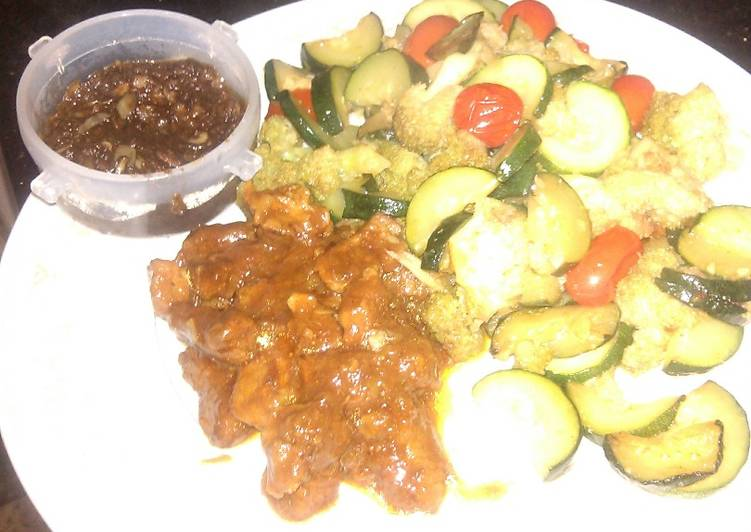 # local ingredients: beef,courgette,cherry tomatoes couliflower and brown paste