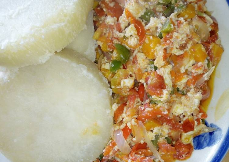 5 Minute How to Make Spring Boiled yam with vegetable and scrmambled egg sauce