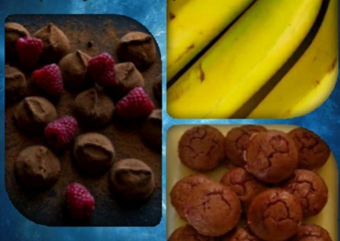 Raspberry and chocolate banana muffins