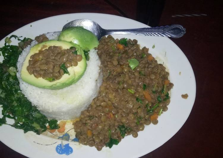 Recipe of Favorite Rice with lentils and spinach