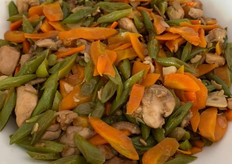Tumis buncis wortel ayam