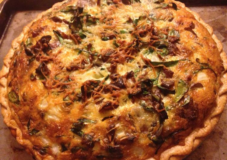 Bacon,spinach and mushroom quiche