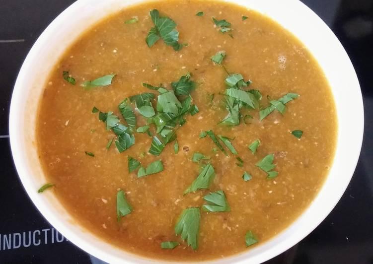 Soupe de lentilles/carottes épicées (vegan)
