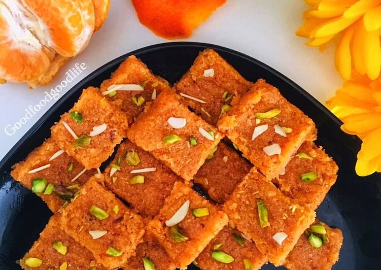 Recipe of Favorite Colourful Orange Barfi