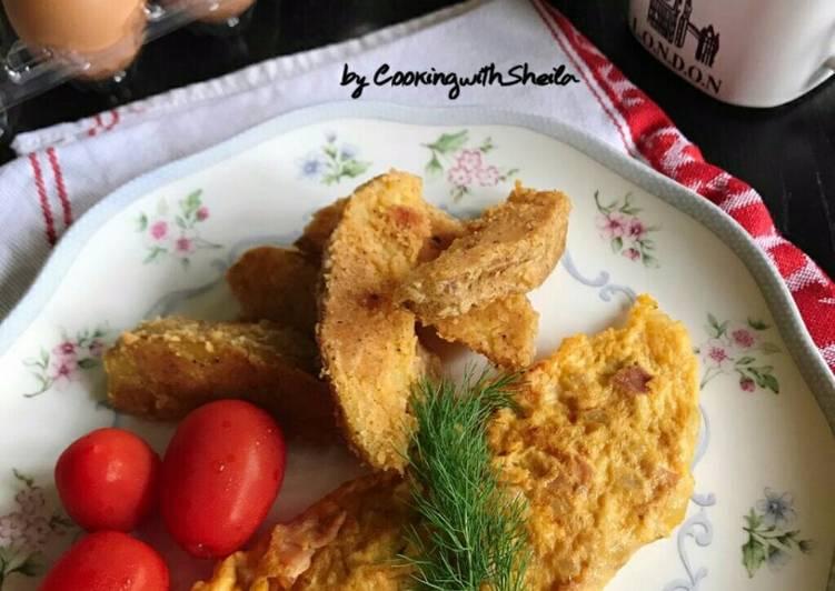 Resep Ham, Cheese Dan Mushroom Omelette Paling Mudah