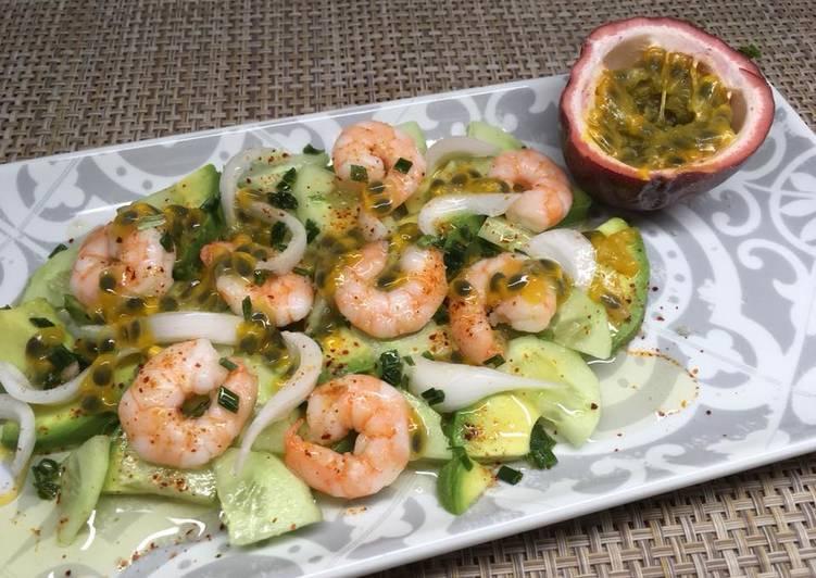 Comment Préparer Des Salade de Crevettes au fruit de la passion