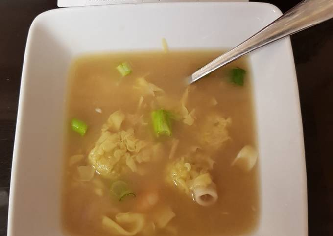 My Won Ton Soup with prawns squid & miso base
