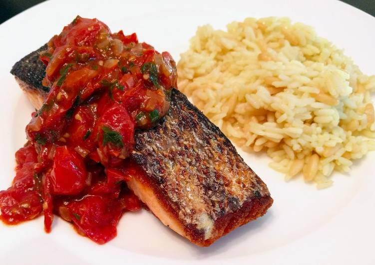 Pan-Roasted Salmon with Tomato Relish