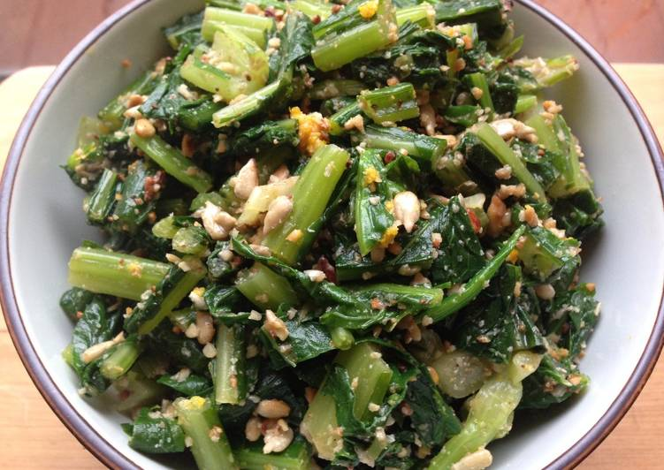 Turnip Greens Salad with Toasted Sunflower Seeds