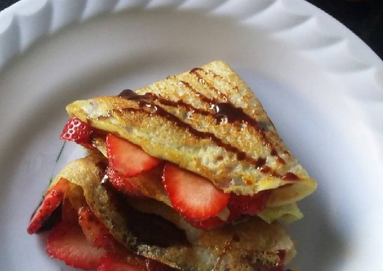 Strawberry chocolate syrup crepes