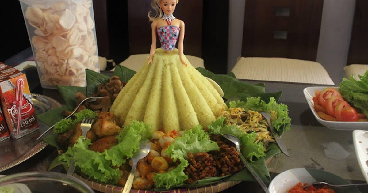 Resep Tumpeng Nasi Kuning Barbie Dan Lauk Pauk Oleh Naminami Cookpad