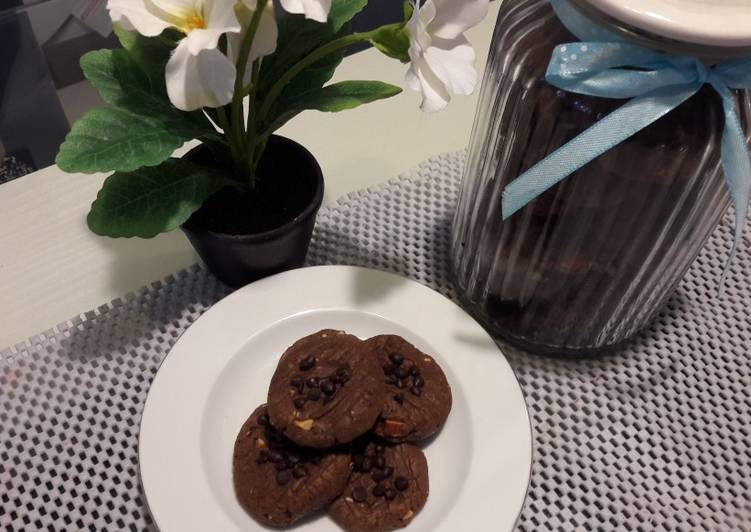 Chocolate Cookies Almond Takaran sendok NO mixer(bisa dg teflon)