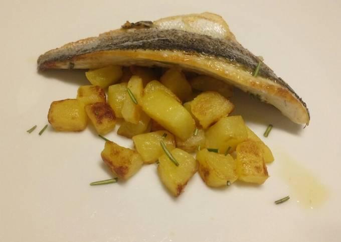 Lemon and rosemary pan fried sea bass with sautèed potatoes