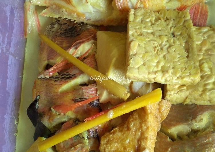 Ikan nila kuah kuning dan tempe tahu enak