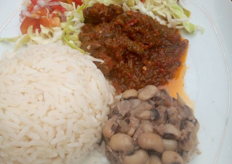 Simple Rice and beans with stew