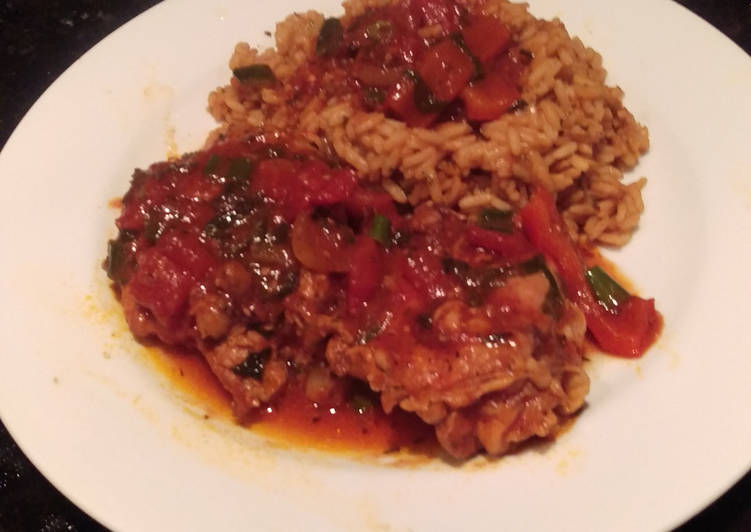 Braised Chicken w/ Peppers