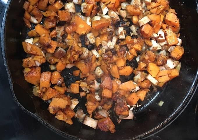 Sweet potato maple bacon hash