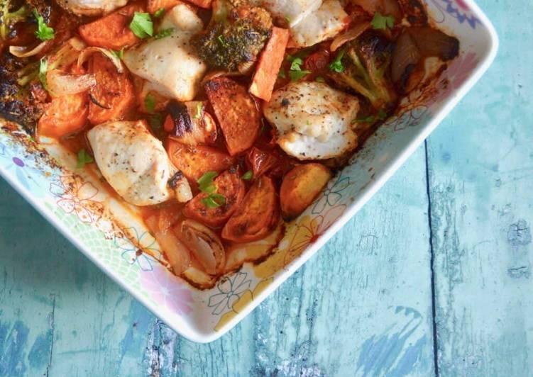 Recipe of Homemade Chicken, Tomato & Sweet Potato Bake