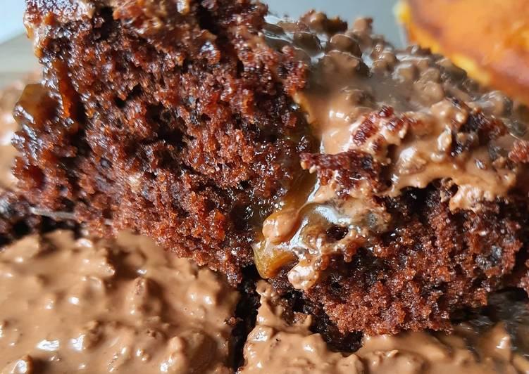Gateau chocolat, caramel beurre salé et couverture crunch