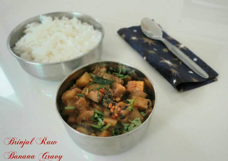 Recipe: Tasty Brinjal Raw banana gravy