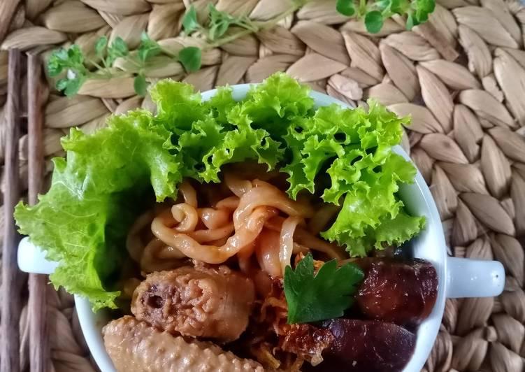 Mie bayam ayam jamur (homemade)