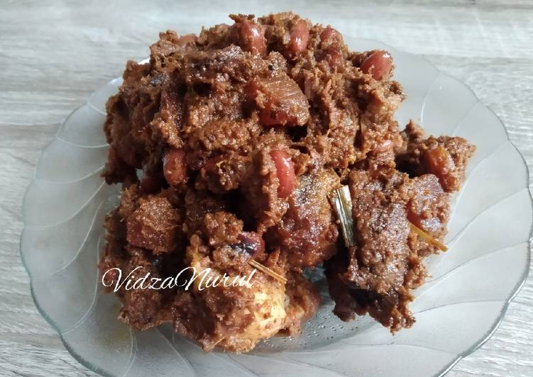 resep cara mengolah Rendang Ayam Kacang Merah