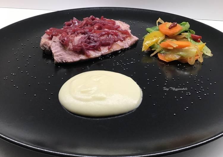 Ricetta Arrosto di scamone di Scottona con purè di patate e verdure