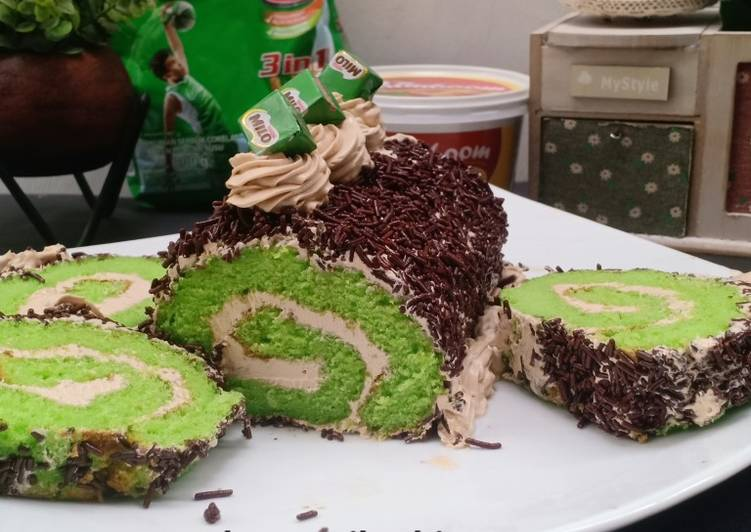 Ice Milo roll cake 💕