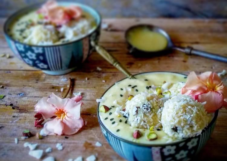 Crema de coco y mango con bolitas de cuscús,