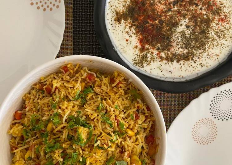 The Best Soft and Chewy Dinner Easy Royal Jhatpat Kadai Pulao with Mix Raita