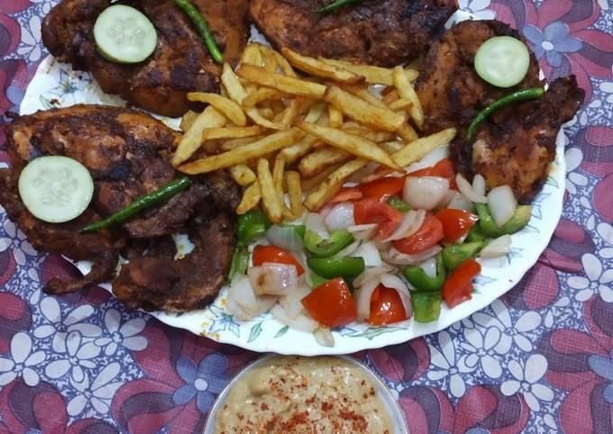 Chicken steak with tandoori sauce