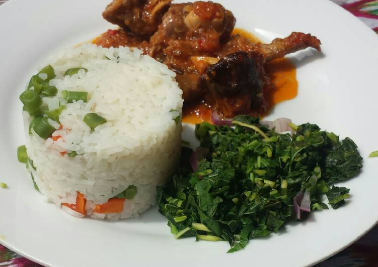 Veggie white rice and goat meat stew