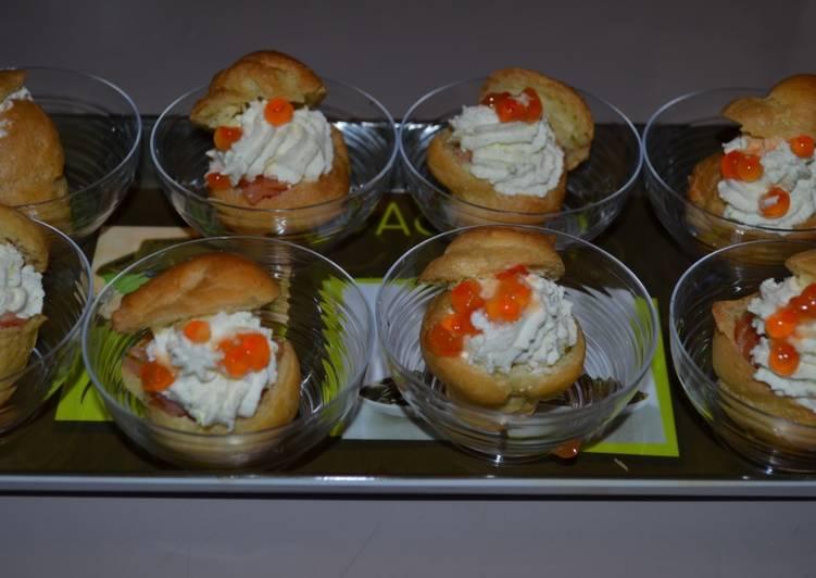 Choux au saumon et chantilly citronnée