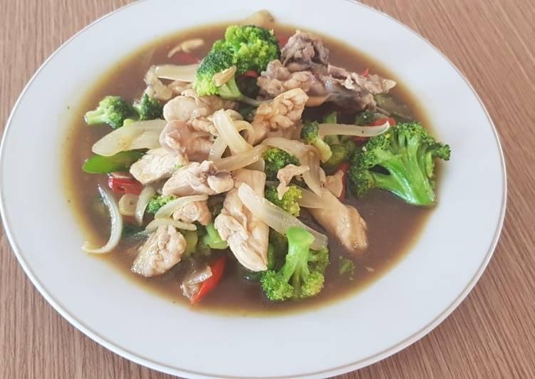 Cah Brokoli Ayam Saus Tiram