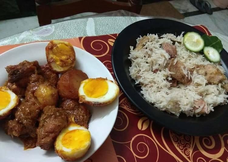 Chicken Dakbunglow served with Gondhoraj fish pulao