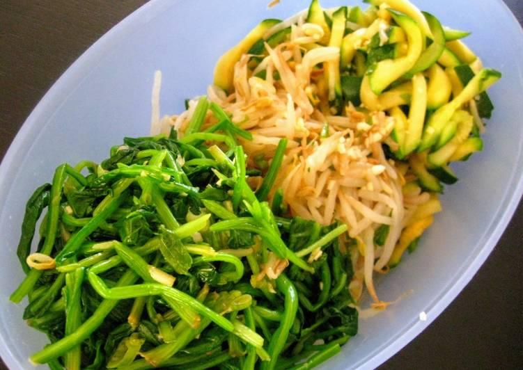 15 Minute Steps to Prepare Quick Basic Namul Banchan (Korean Sesame-Garlic Vegetable Side Dish)