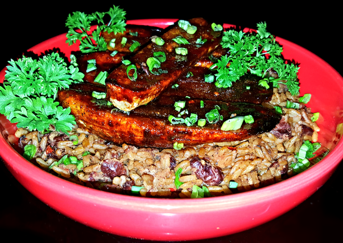 Mike's Sinfully Sweet & Spicy Plantains Over Red Beans & Rice