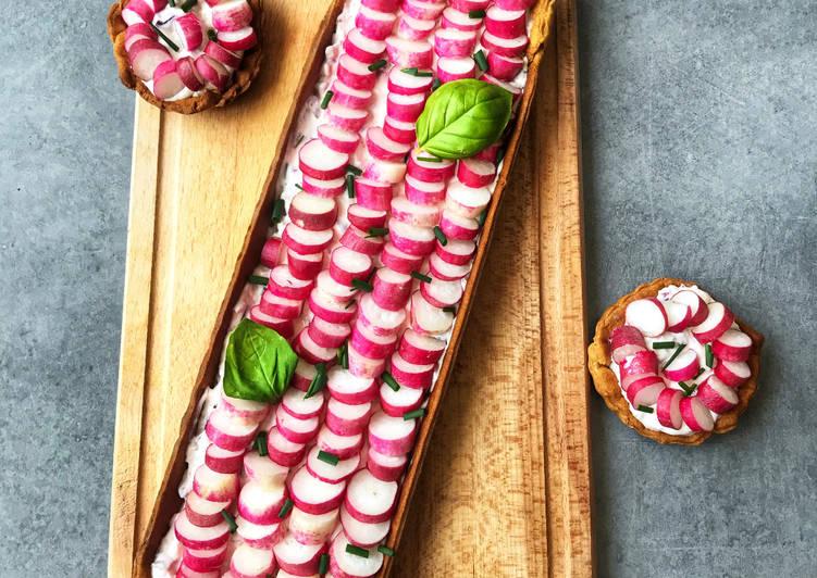 Tarte radis fromage frais ciboulette