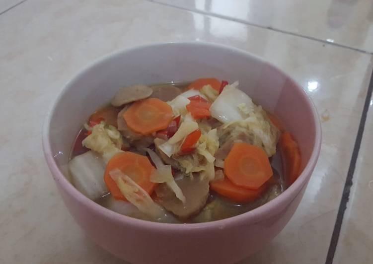 Tumis sawi wortel pedas