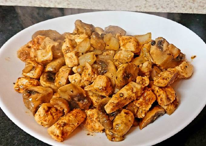 My One Pan Sautèed Mushrooms and Chicken Bites 🤗Mainmeal